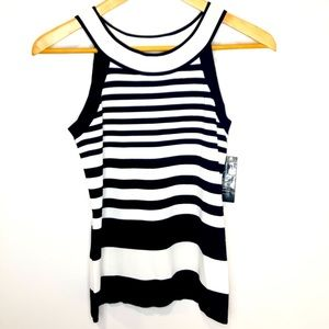 NEW INC Black and White Striped Halter Knit Top